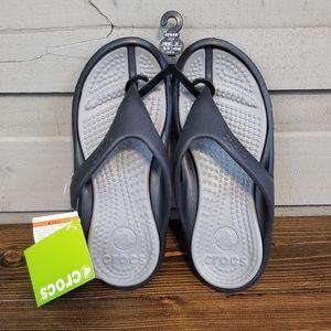 Crocs Athens Flip Flops Black Grey Relaxed Size 8